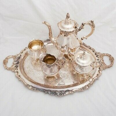 6-Piece Antique Silverplate Wallace Baroque Coffee Tea Service Set with Tray