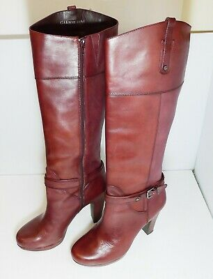 71a271ba27d VINTAGE ITALY LEATHER Knee Tall Heel Boot Hana Mackler Brown Pull On ...