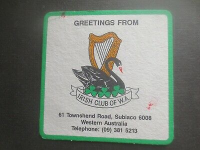1 only GUINNESS Australia  / Irish Club of W.Aust. Special Issue BEER COASTER