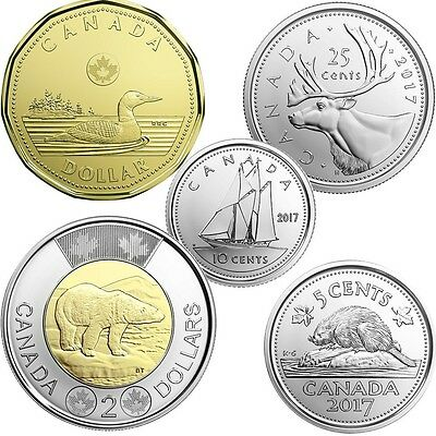 CANADA 2017 New Complete NO circulation set (BU from mint set roll) CLASSIC COIN
