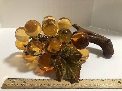 Vintage Lucite Acrylic or Glass Grape Cluster Mid Century Retro Decor Amber