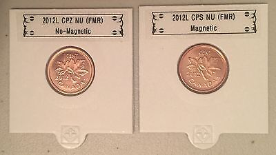 CANADA 2012 New 1 cent Kit - 1 MAGNETIC + 1 NON-MAGNETIC (BU From roll)