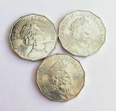 3 x 2019 50 Cent Coins - New Effigy on Obverse - From Mint Bag
