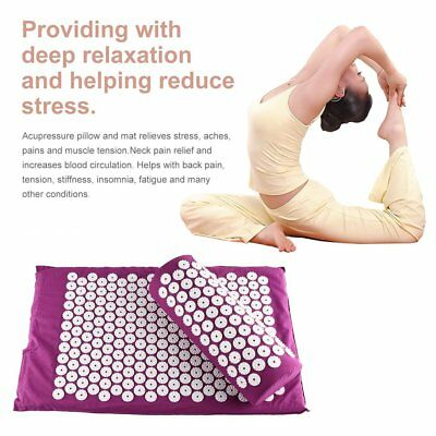 Acupressure Mat and Pillow Set Hypoallergenic Relief of Stress/Pain/Tension GN