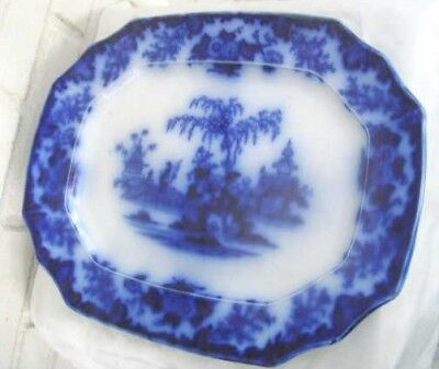 Nineteenth Century Flow Blue Scinde Alcock Large Platter Beautiful Condition!