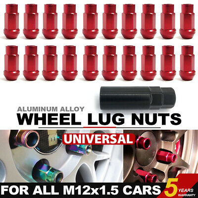 20 Pcs/Set Red M12X1.5mm Lug Nuts Spiked Extended Tuner Aluminum Wheels Rims Cap