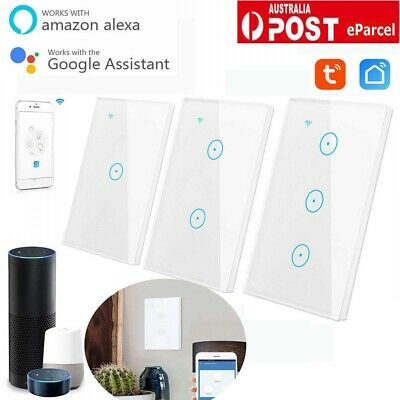 Smart WIFI Wall Light Touch Panel Switch App Timing Socket Alexa Google Home AU