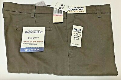 Dockers Stretch Easy Khaki Straight-Fit Flat-Front All Motion Pants Dark pebble