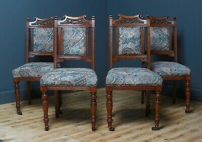 Attractive Set of 4 Antique Victorian Carved Oak Dining Chairs For Reupholstery
