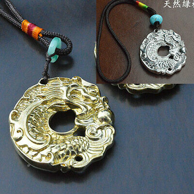 Brass Silver fish&Loong Lucky Recruit money Necklace keychain bead pendant gift