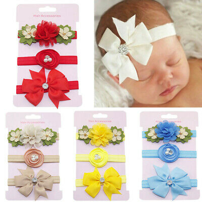 3Pcs Cute Newborn Baby Girls Bow Floral Headband Infant Headband Accessories