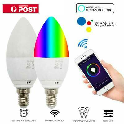 For Alexa & Google E14 5W RGB WIFI Smart Bulb Candle Dimmable Home Support NEW