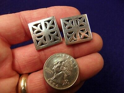 """Very Nice Older Vtg Mens Sterling Silver Cufflinks, Squares With """"grates"""" Style"""