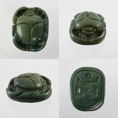 Egyptian Scarab Amulet Wonderful Deep Green Old Jade with Symbol #A147