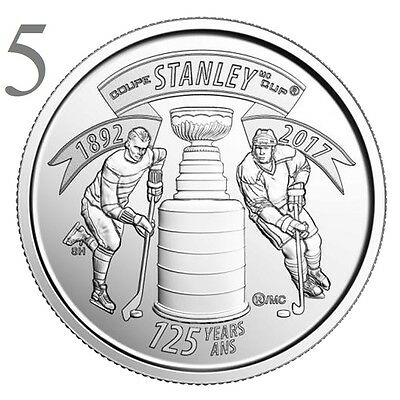 CANADA 2017 New 5x25 cents 125th Anniversary of the STANLEY CUP (UNC From roll)