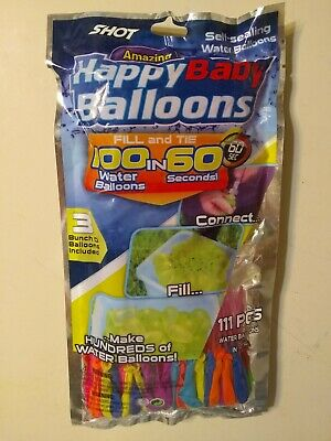 Shot 111 Happy Baby Water Balloons, Multicolored Fill in 60 Seconds Self-Sealing