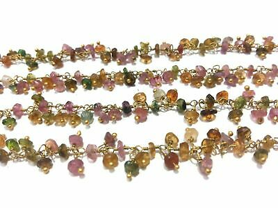 Rosary Beaded Chain Gold Plated Wire 3-15 Feet Multi Tourmaline Rondelle Beads