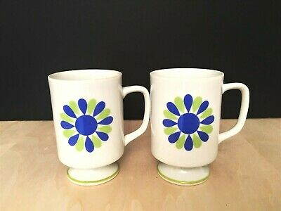 Retro Mid Century Mod White Ceramic Coffee Cups with Blue and Green Flower Power