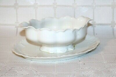 Haviland H&Co Schleiger 1 RANSON France Gravy Boat w/ Attached Under Plate
