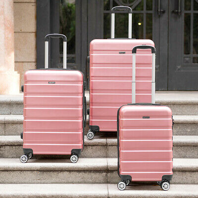 Rose Gold Lightweight Hard Shell Luggage 4 Wheel Spinner Travel Trolley Suitcase
