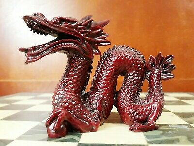 9 Beautiful Mini Red Chinese Feng Shui Dragon Figurine Statue for Luck & Success