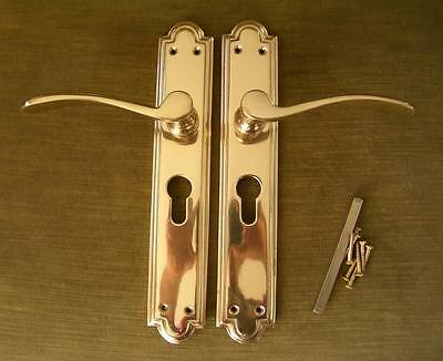 1 PAIR of NEW Solid BRASS EURO DOOR HANDLES or other style - can post