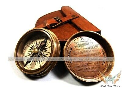 Brass & Copper Robert Frost Pocket Poem Compass Maritime Antique Item W Cover
