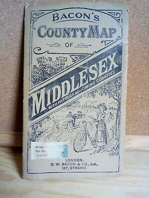 G W Bacon Edwardian County cycling Map Middlesex antique Bacon's cyclists
