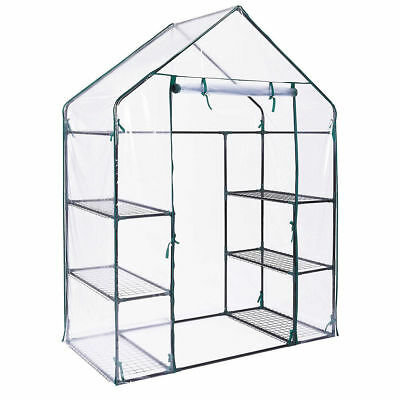 New Walk In Greenhouse Plants With Double Shelves Pvc Plastic Cover Outdoor