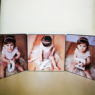 3 x Personalised Black Wooden Photo Block Picture Frame Gift Vision Blox