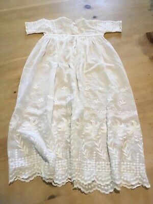 Vintage  white cotton muslin christening gown 25 inches long lacework bodice