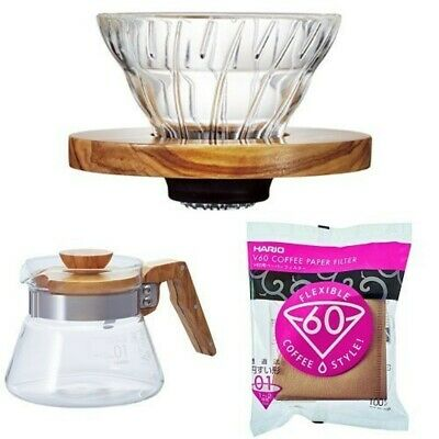 HARIO V60 OliveWood Coffee Dripper Server Paper Filter Set for 1-2cups 400ml