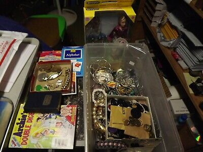 Vintage Junk Drawer Kid Cards Mix Jewelry Sterling Earrings Breyer Buttons Coins