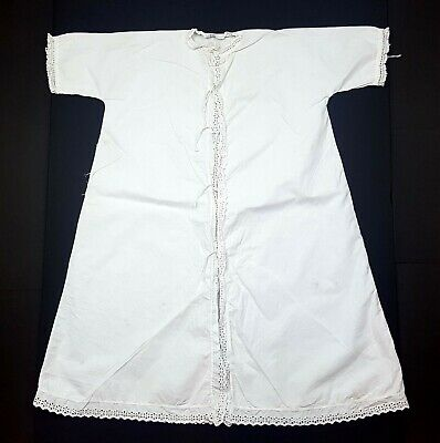 Victorian / Edwardian White Cotton Night Dress Gown - Frilled Lace Collar