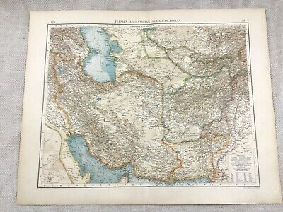 1899 Antique Map of Persia Afghanistan Middle East Original 19th Century GERMAN