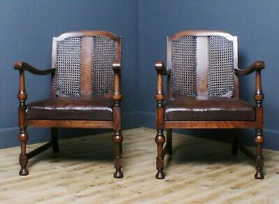 Attractive Pair of 2 Vintage Walnut & Leather Bergere Caned Armchairs