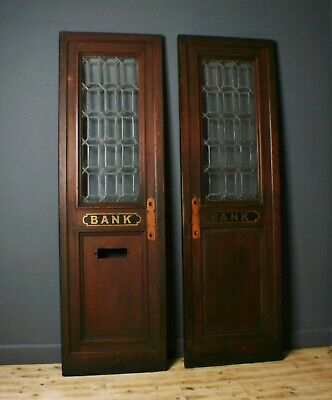 Attractive Antique Victorian Large Pair Of Leaded Glass Bank Doors, Reclamation