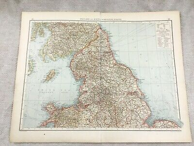 1899 Antique Map of England Wales Yorkshire UK Original 19th Century GERMAN