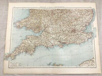 1899 Antique Map of England South Devon Cornwall Original 19th Century GERMAN