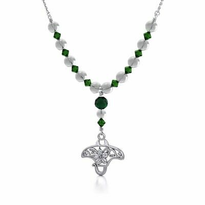 Filigree Manta Ray Sterling Silver Beaded Necklace by Peter Stone Fine Jewelry