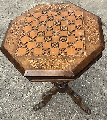 Antique Victorian Inlaid Mahogany Walnut Sewing Box Chess Side Table