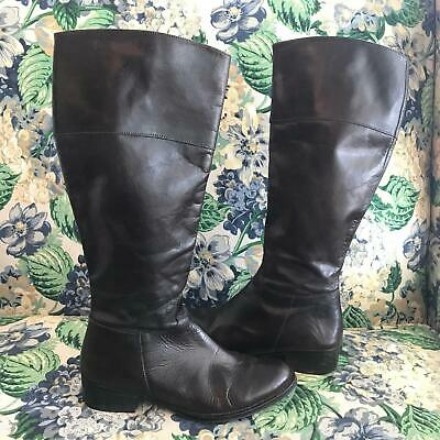 Women's Size 38 US 7.5 Dark Brown Leather Riding Knee Boots