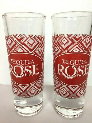 2 Tequila Rose Shot Glasses Red Diamond Shapes Tall