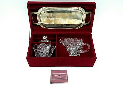Crystal Legends Depression Glass Set Clear W/ Serving Tray Red Velvet Box