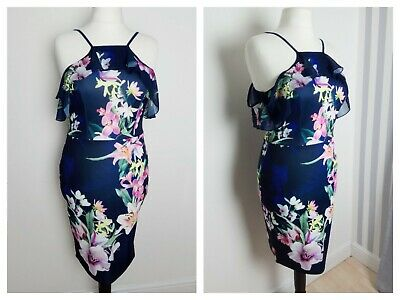 0cd989a09741 Lipsy navy blue floral print cold shoulder frill wiggle pencil sheath dress  14