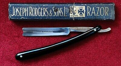 Straight razor, shave ready, very rare Joseph Rodgers 4/8 hollow point with case