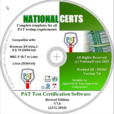 NEW PAT TEST CERTIFICATE PAT TESTING FORMS CD-ROM Portable appliance V7 (2019)