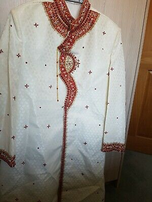 Mens Asian Wedding Party Shervani Sherwani Size 42  with shoes/ kussay