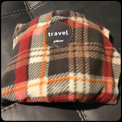 Super Soft Neck Support Travel Pillow Machine Washable Brown Plaid