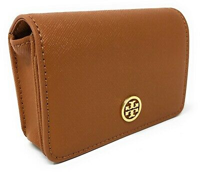 Tory Burch Robinson Leather Foldable Card Case in Luggage - NWT - $125.00 MSRP!